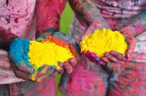 holi colored corn starch powder